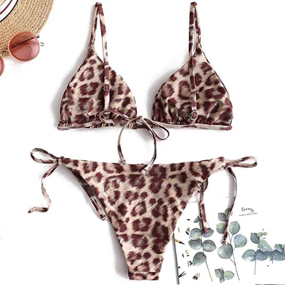 AA Women Animal Printed Bikinis Tie up Triangle Bra Push up Thong Beachwear Swimsuits Brazilian Bikini Swim Suit Biquinis