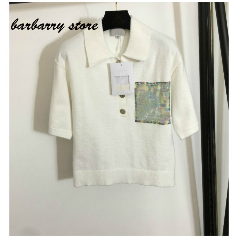 luxury brand letter hot drill pocket printing fashion women's top temperament Lapel versatile slim short sleeve knitted T-shirt