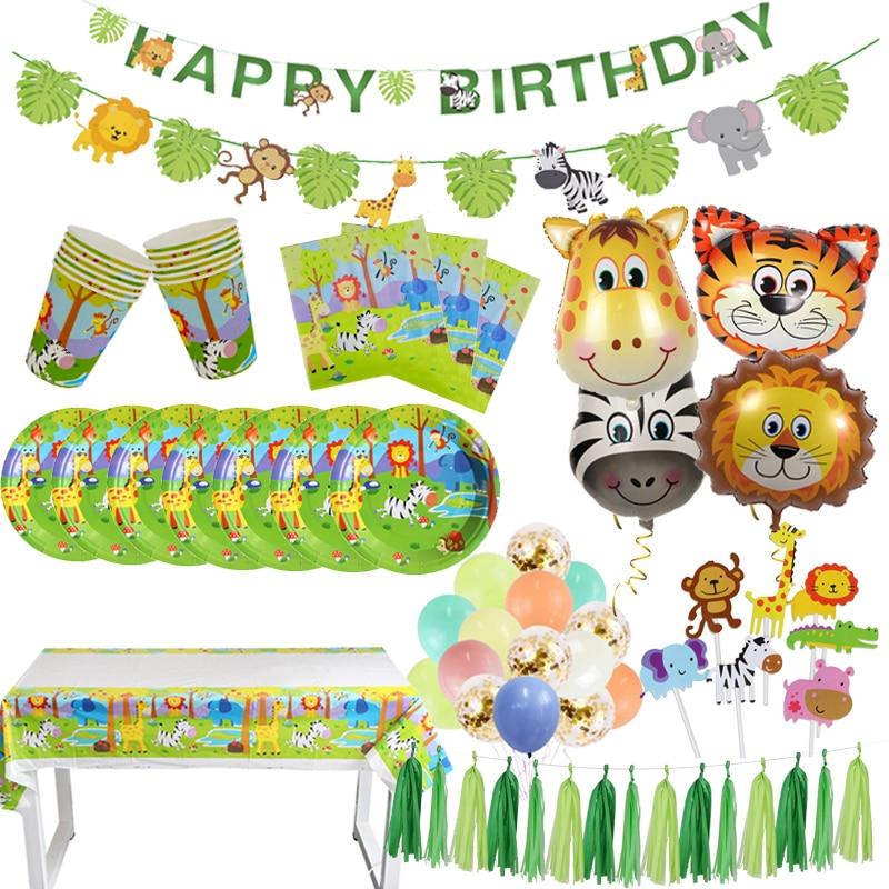 Vajilla de papel desechable elemento de bosque animales Placa de fiesta servilletas para tazas bandera de la selva bandera niños decoración de fiesta de cumpleaños niños