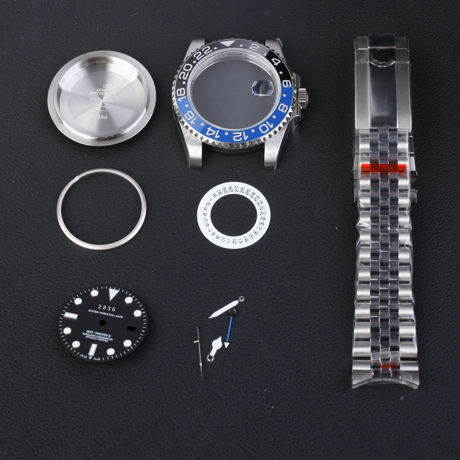 GMT blue and lback ceramic bezel  CASE 904L STEEL FOR WATCH PARTS YM Factroy fit DIIY 2836 4 hands movement