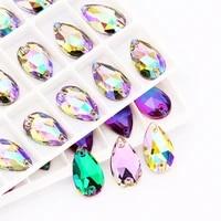 astrobox high quality drop glass crystal strass sew on rhinestones flatback sew on rhinestone for diy clothing jewelry making