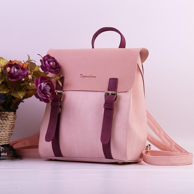 Toposhine nuevo diseño mochilas para Plaza de la moda de las niñas Mochila de cuero de la PU de las mujeres mochila de moda de señora de la escuela Bags1704