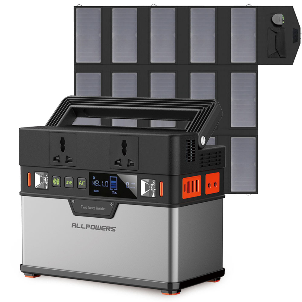 ALLPOWERS Portable Power Station 372Wh Lithium Battery Solar Generator with Solar Panel 100W Backup
