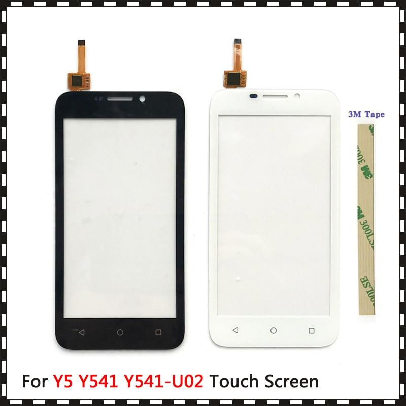 Alta qualidade 4.5 para huawei y5 y541 Y541-U02 digitador da tela de toque sensor lente vidro exterior painel preto branco
