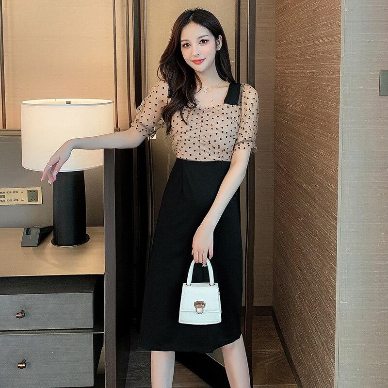 Francuski styl Polka Dot rozdzielona sukienka dla kobiet 2021 lato nowa mała średniej długości Design Sense niszowa spódnica