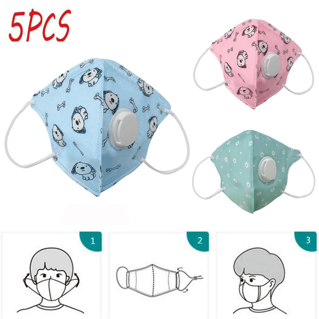 5pcs Disposable Childrens Cartoon Mask With Breathing Valves Mask Dust-proof Mondmasker Scarf Mascarilla Reutilizable Маска
