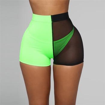Woman Summer Mixed Colors Mesh Shorts Sexy See Through High Waist Shorts Fashion Short Shorts Women Panties Casual Streetwear