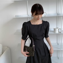 Black Dress Summer Temperament Goddess Style Square Collar Puff Sleeve Waist Slimming French Style o