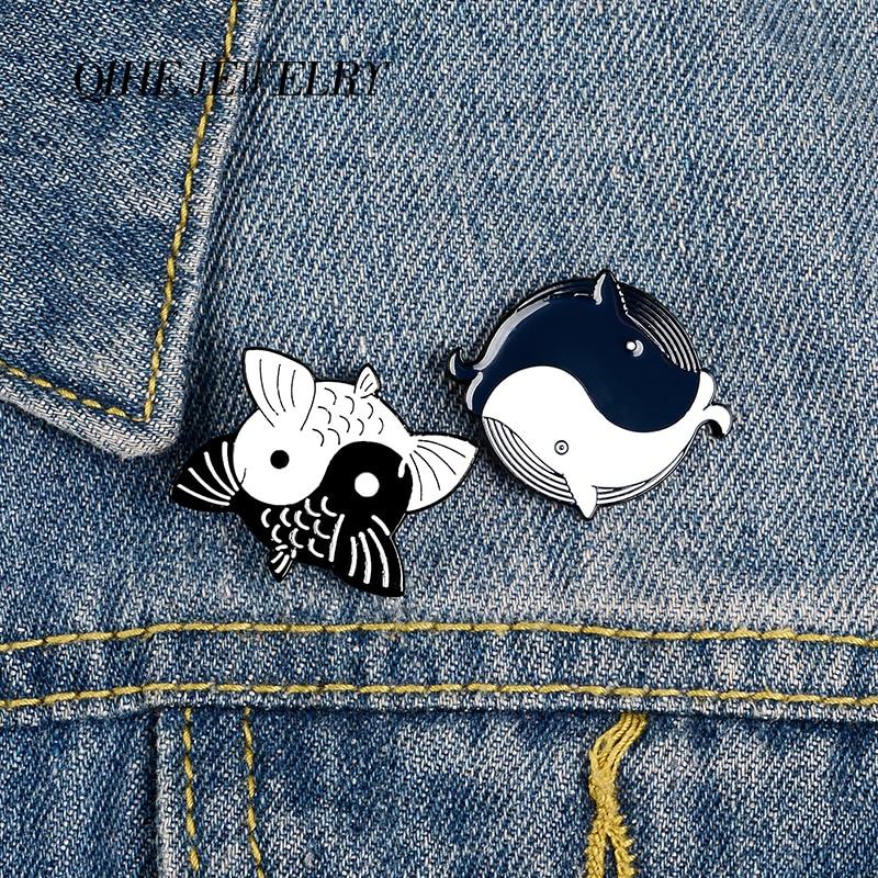 Qihe jóias tai chi yin yang peixe pinos taoist kung fu esmalte pinos broches bonitos crachás denim roupas saco pinos presentes para amigos