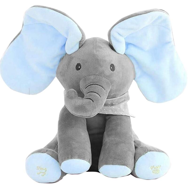 30 CM Plush Peekaboo Elephant Talking Electric Toy Hide And Seek Elephant Doll Electric Toy Plush Stuffed Toy Doll For Baby