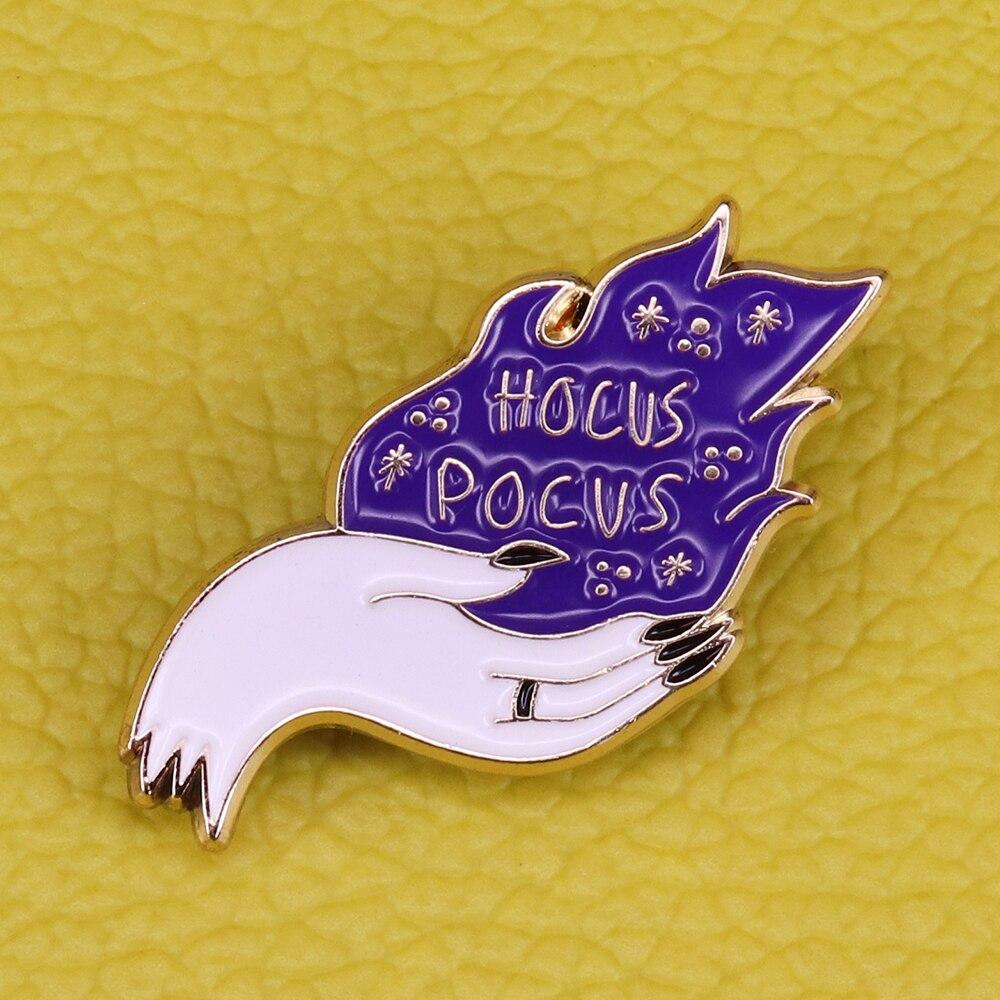 Hocus Pocus, эмалированная брошь на Хэллоуин, волшебное заклинание ведьмы, фиолетовые огни, жгучий значок, принадлежности для колдовства