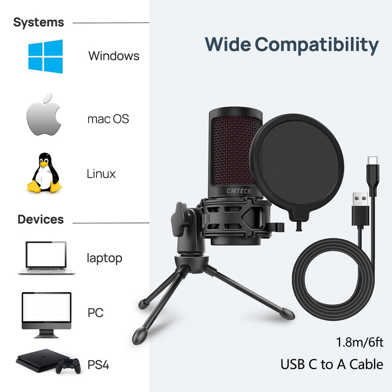 USB Microphone, CMTECK Condenser Gaming Desktop Mic for PC Laptop, with Mute Button, Anti-Vibration Shock Mount, Pop Filter enlarge