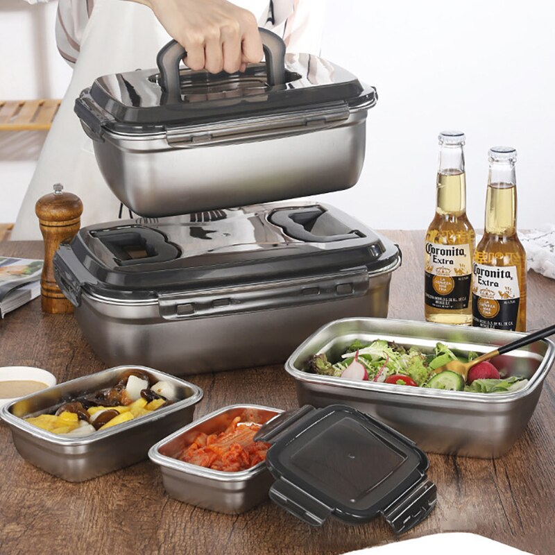 جديد الكورية علب الاغذية التعريفي طباخ علبة طعام للتسخين علب الاغذية اكسسوارات المطبخ 304 الفولاذ المقاوم للصدأ