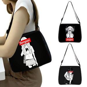 Cartoon Girls Print Shoulder Bag Sugoi Senpai Waifu Women Handbag Harajuku Style Messenger Bag Lipstick Phone Clutch Tote Bags