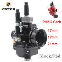 ZSDTRP carburateur de course rouge noir   PHBG Carb 17mm 19mm 21mm Dellorto réplique Puch Zuma adapté pour 50cc 70cc 90cc moteur JOG50 DIO90