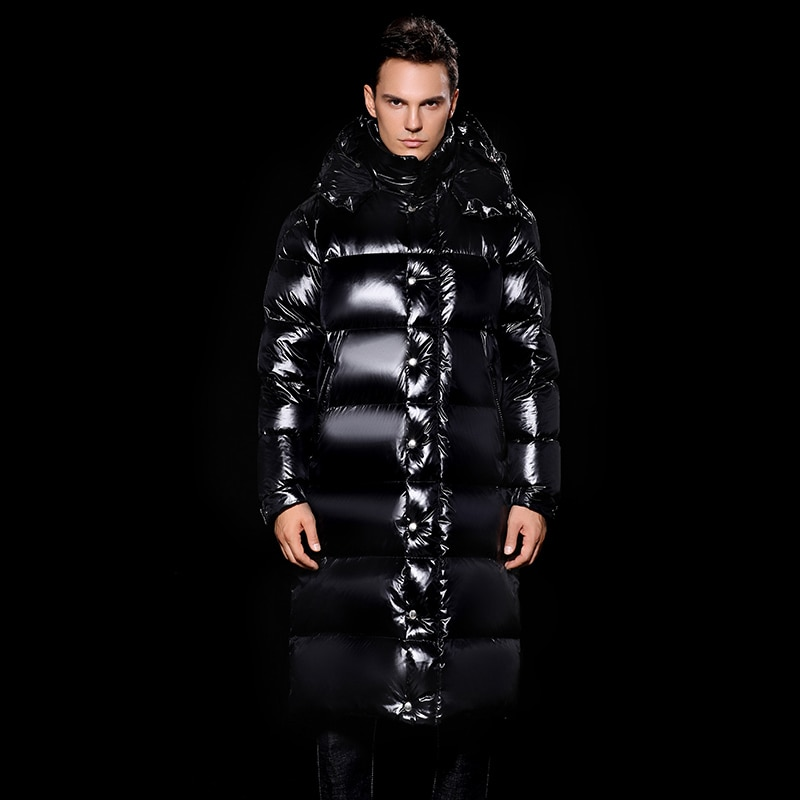 Winter 2020 New Men's Down Jacket Long Thickened Warm Goose Down Jacket Snowsuit Hooded Cold Proof Boys Coat M L XL XXL Black