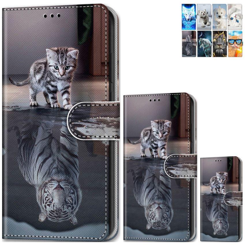 Animais estilo meninos coldre de telefone para huawei honor 8a 8c 6c pro y9 y7 y6 y5 prime 2018 ii gato tigre cartão bolso do caso da aleta saco e08f