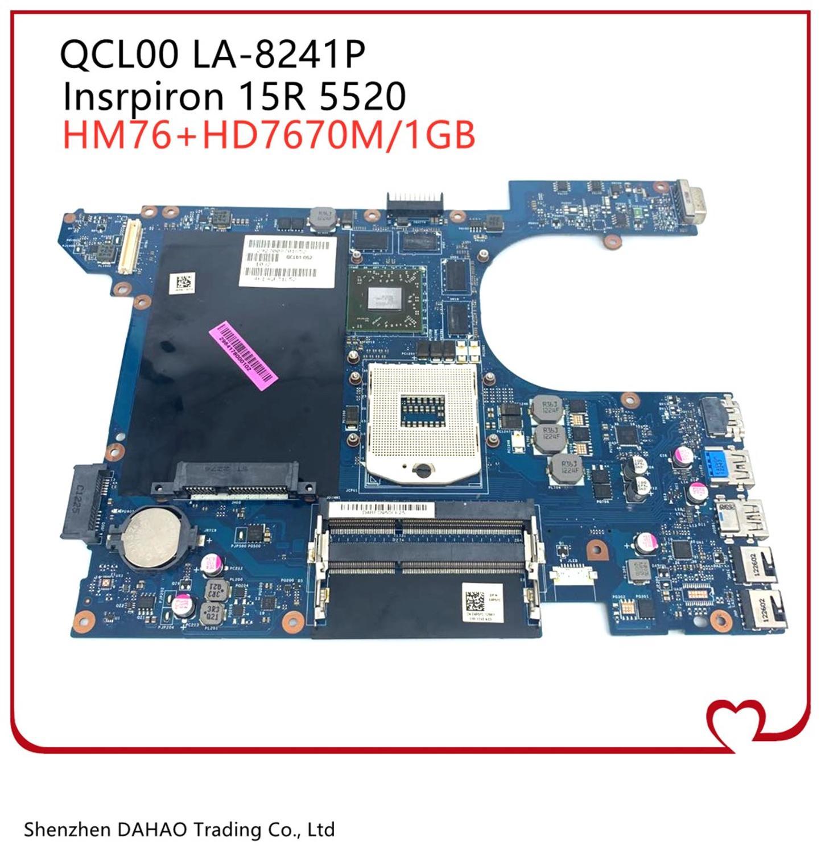 CN-06D5DG 06D5DG QCL00 15R LA-8241P 5520 mainboard Para DELL Inspiron 5520 7520 laptop motherboard Com HD7670M 1GB 100% TESTE OK