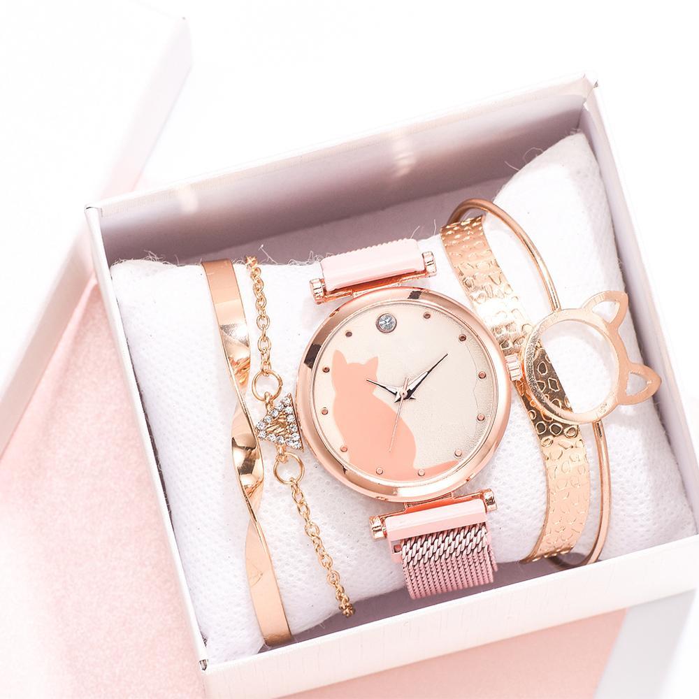 Dropshipping 5pcs/set Women Watches Rose Gold Bracelet Set Cat Pattern Black Magnet Watch Ladies Wrist Watches Quartz Clock