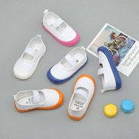 2020 Children's Canvas Shoes Toddler Kids Kindergarten Indoor Shoes Boys Girls Slip-on Elastic White Footwear