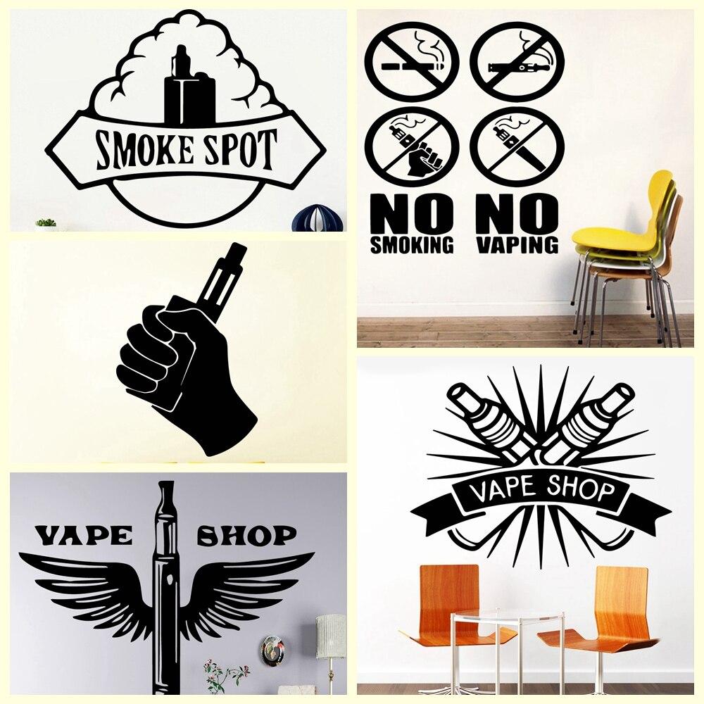 Hot Sale No Smoking Vape Start Wall Sticker Pvc Vinyl Wall Stickers Wall Art Decor For Public Vape Shop Waterproof Wallpaper
