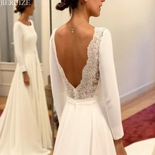JIERUIZE blanc manches longues dos nu robes de mariée a-ligne dos ouvert robes de mariée robes de mariée robe de mariee
