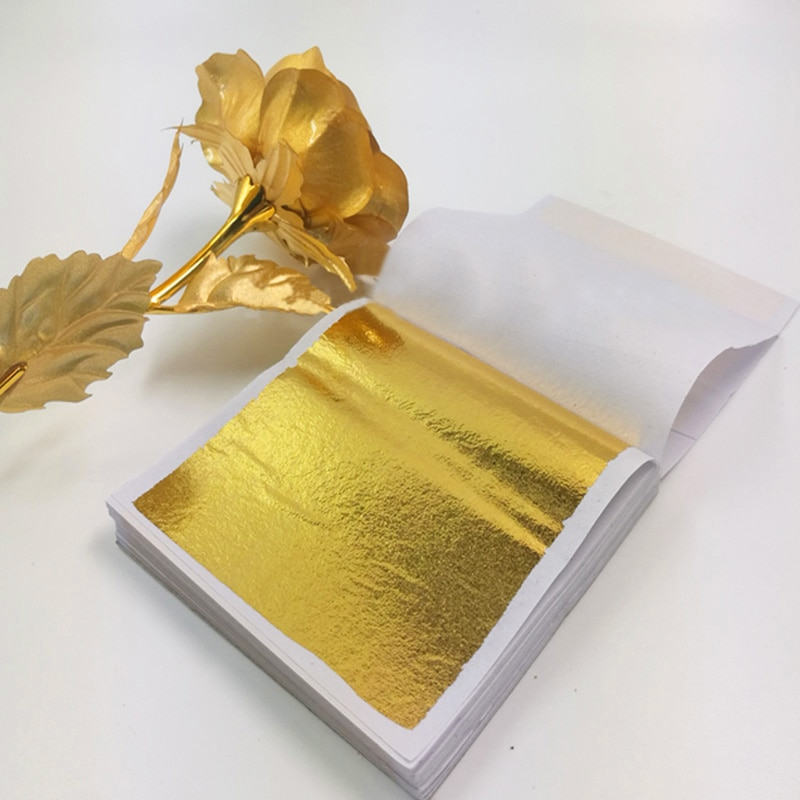 AliExpress - 100pcs Imitation Gold Silver Foil Paper Leaf Sheet Gilding DIY Art Craft Paper Birthday Party Wedding Cake Dessert Decorations