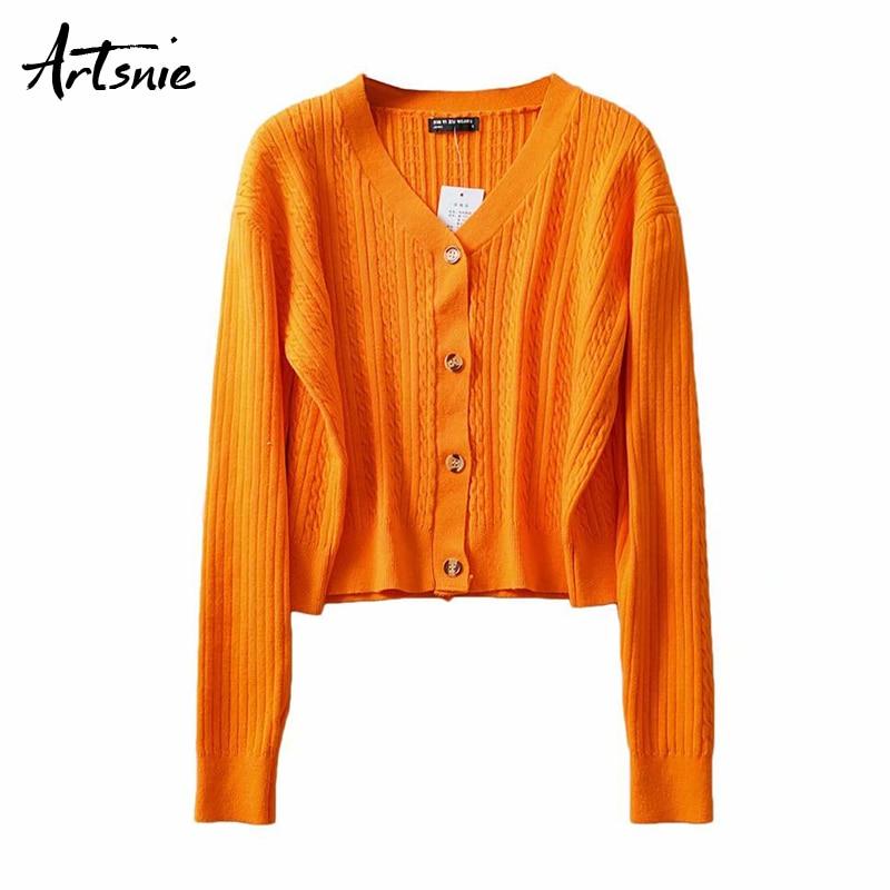 Artsnie naranja cuello pico cardigans suéter mujeres otoño 2019 Botón de punto jumpers casual manga larga suéteres pull femme