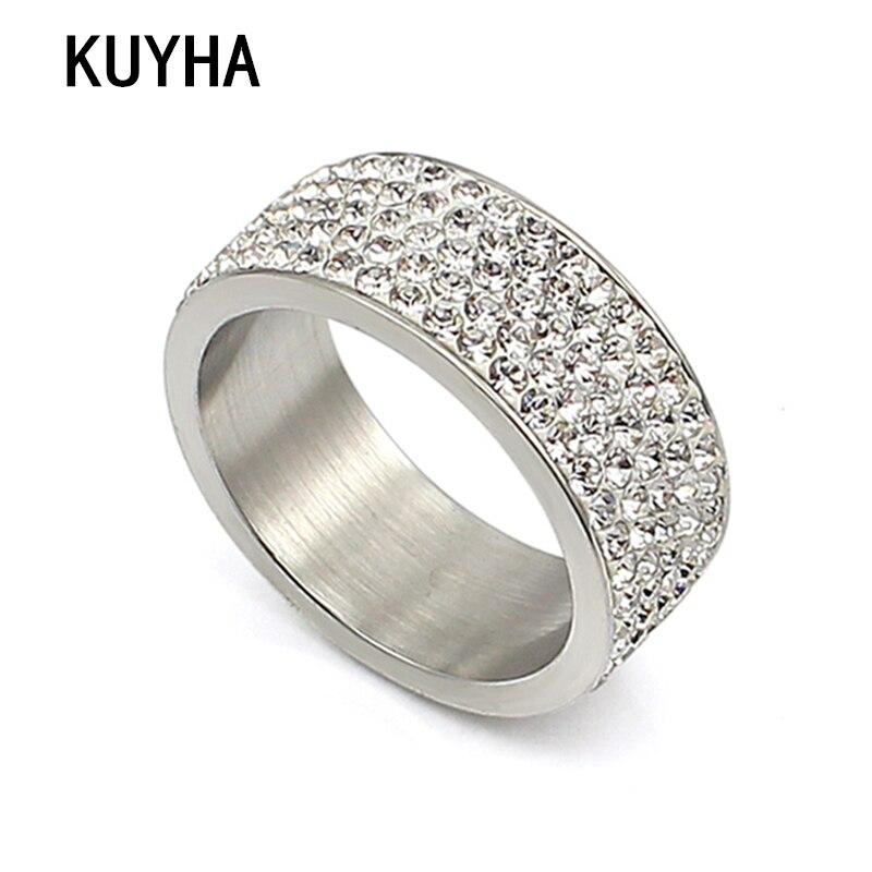 Nuevo anillo de cristal de Color plateado Vintage a la moda con diseño brillante, anillos de cristal con diamantes de imitación estilo Punk, talla de joyería 6-10