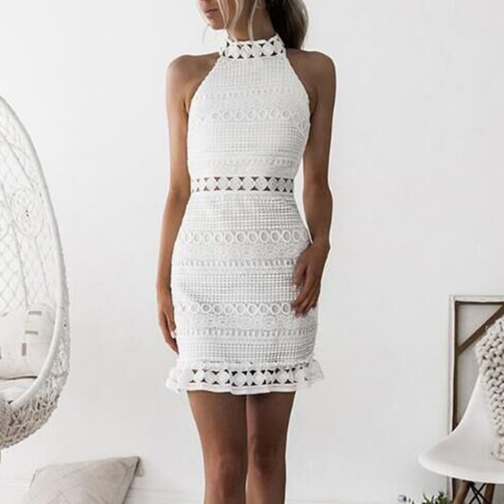 Vestido corto femenino de encaje sin mangas para verano, minivestido ceñido para...