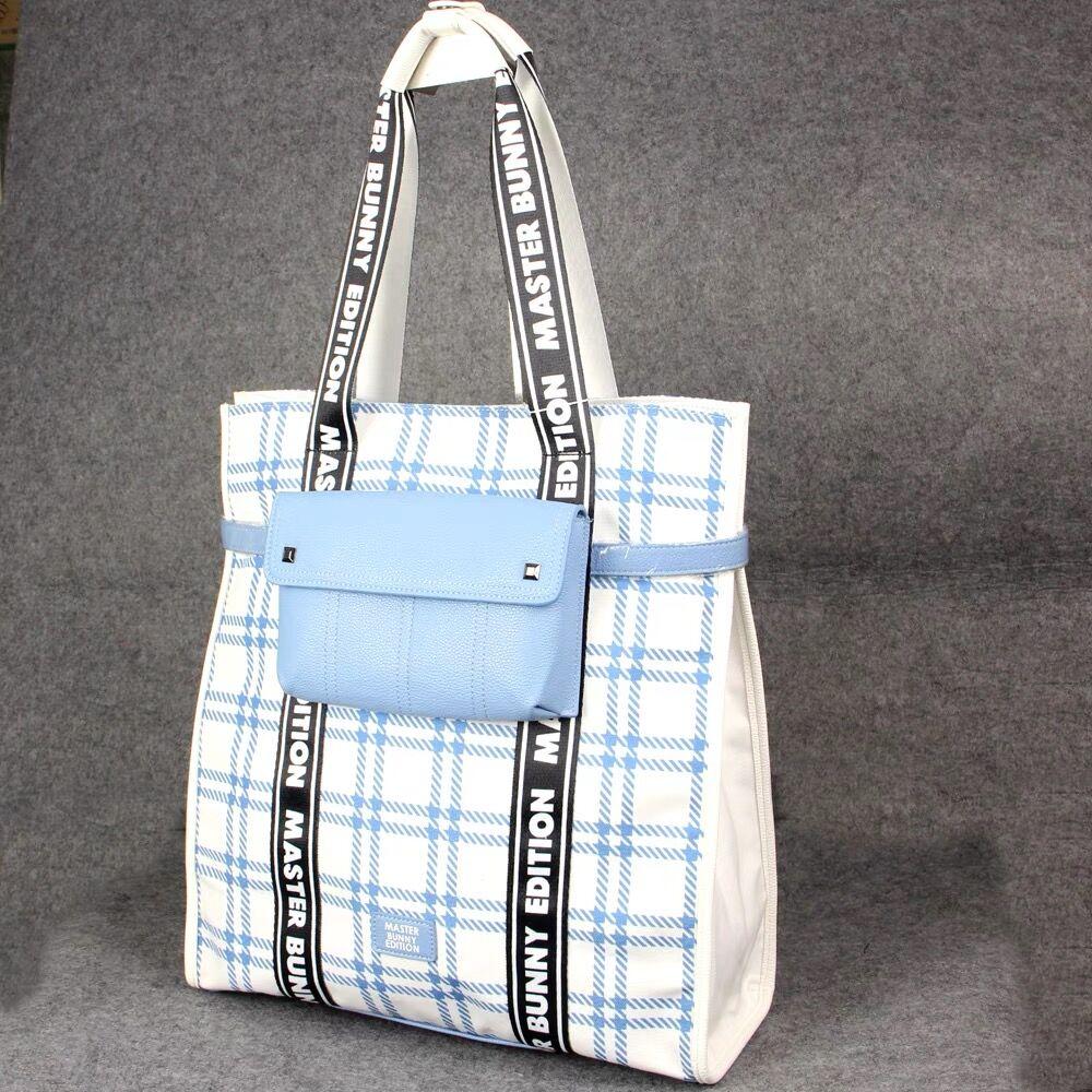 Fashion Check Women's Handbag Golf Clothing Bag Canvas Composite Leather Storage Bag