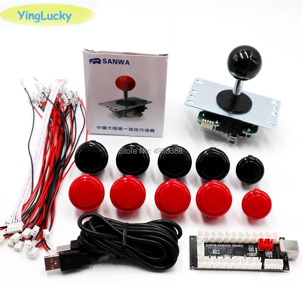 Arcade Joystick Kit DIY, Sanwa Joystick 8YT, OBSF 24 MM, Arcade Kit DIY, USB PC Encoder, para Arcade Mame & Raspberry Pi 3B
