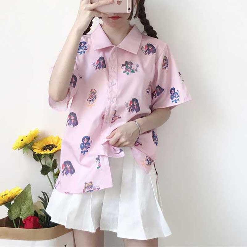 NiceMix 2020 Summer Harajuku Short Sleeve Blouse Women Print Sailor Moon Ladies Kawaii Tops Shirt Casual Plus Size Female Blusas