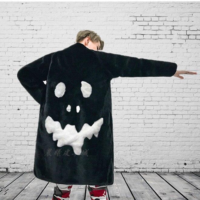 Inverno masculino grosso quente casaco de pele do falso lapela crânio preto impresso casaco solto outwear punk u12