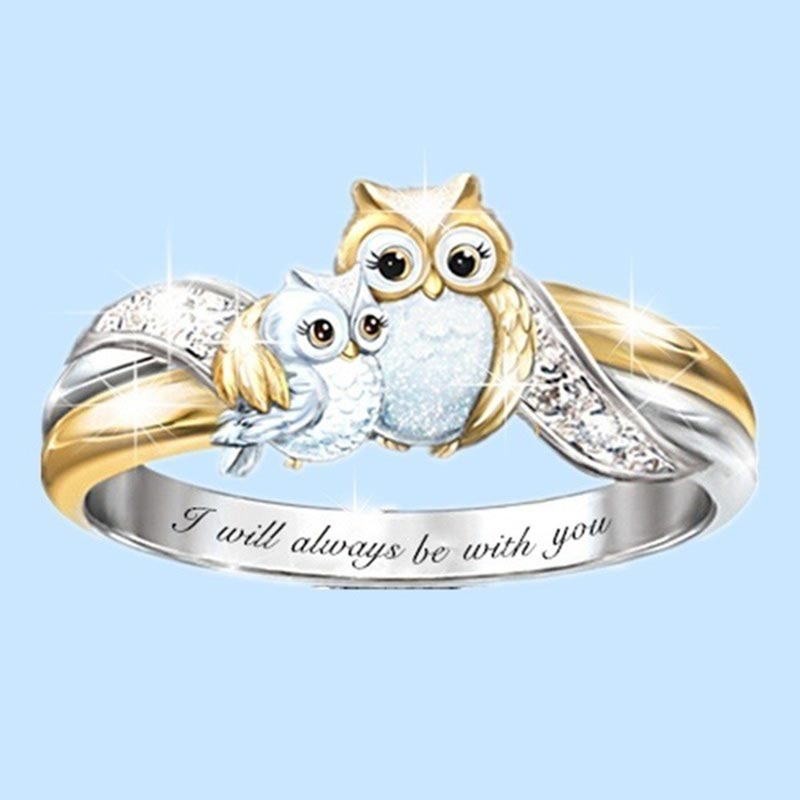 I will always be with you Rings for Women Girls Fashion Cute Mother Kids Owl Rings AAA Crystal Ring