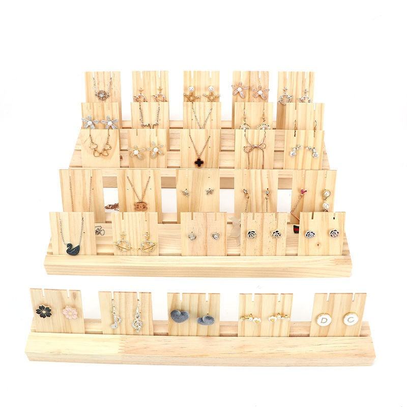 Wood Earrings Jewelry Hanger Organizer Holder Jewelry Rack Hanger Storage Display Stand Holes Wooden Base for Home Shop Decor