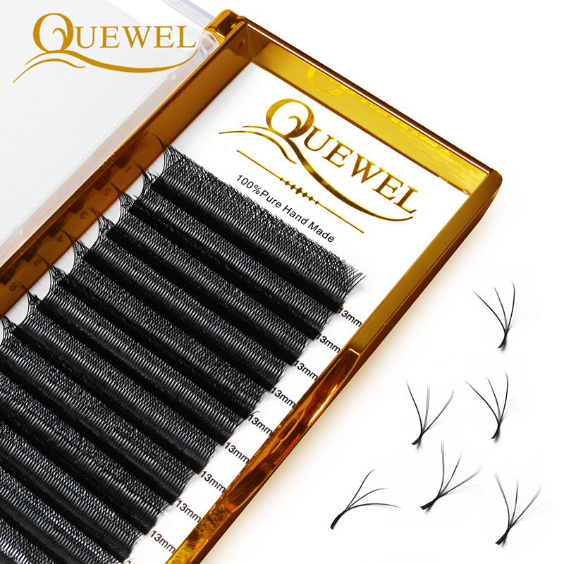 Quewel W Shape Individual Volume Eyelashes W Style Double Tip Eyelash Extensions Fans C/D Curl New F