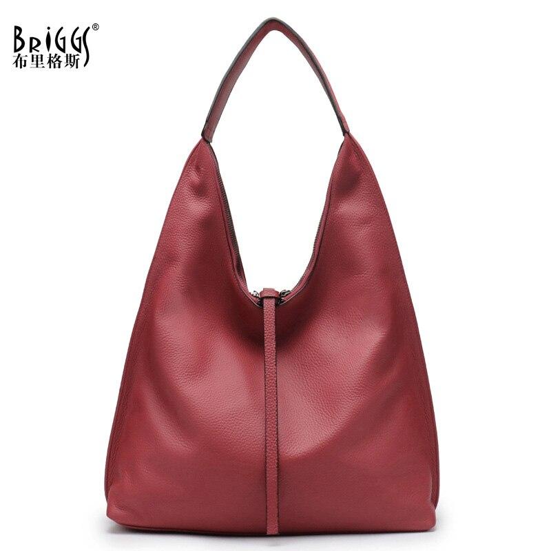 BRIGGS Soft Genuine Leather Women Handbag Fashion Ladies Top-handle Bag Casual Shopping Tote Large Female Hobos Shoulder Bags