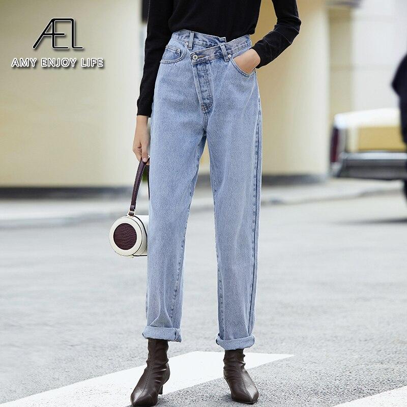 بنطلون جينز نسائي ربيعي فضفاض غير متناسق بخصر عالٍ من قماش الدنيم للنساء بنطلون طويل قطني مغسول ملابس شارع عصرية أزرق فاتح