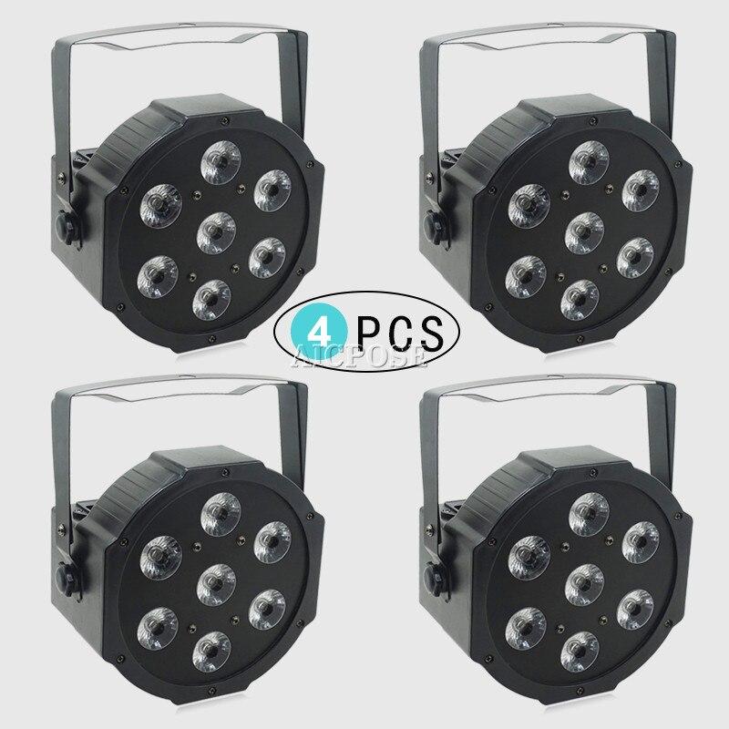 4 قطعة/السلع 25 زاوية كبيرة عدسة 7x18 واط led الاسمية أضواء RGBWA UV 6in1 شقة الاسمية led dmx512 ديسكو أضواء المهنية المرحلة dj المعدات