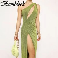 bomblook sexy party club bodycon dresses for women 2021 summer solid single shoulder cut out slit midi night dress female outfit