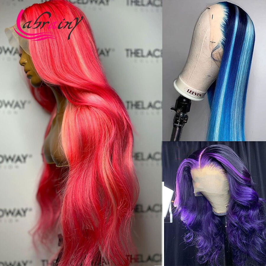13X5 Highlight Pink Blonde 30 40 Inch HD Lace Frontal Human Hair Wigs13x6 Ombre Colored Full Blue 613 Lace Front Wigs Woman Red