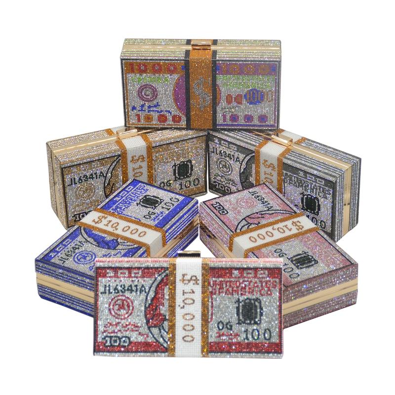 حقيبة فاخرة من حجر الراين الكريستالي ، 100 دولار ، حقيبة سهرة ، محفظة ، بلورات لامعة ، محفظة نقود