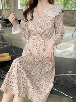 french style temperament peter pan collar floral dress womens clothing 2021 autumn long sleeve vintage lace chiffon maxi dress