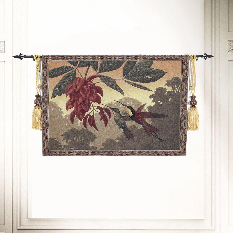 135x95cm Jacquard estilo chino pájaro tapiz pared colgante Boho decoración algodón paisaje pared alfombra