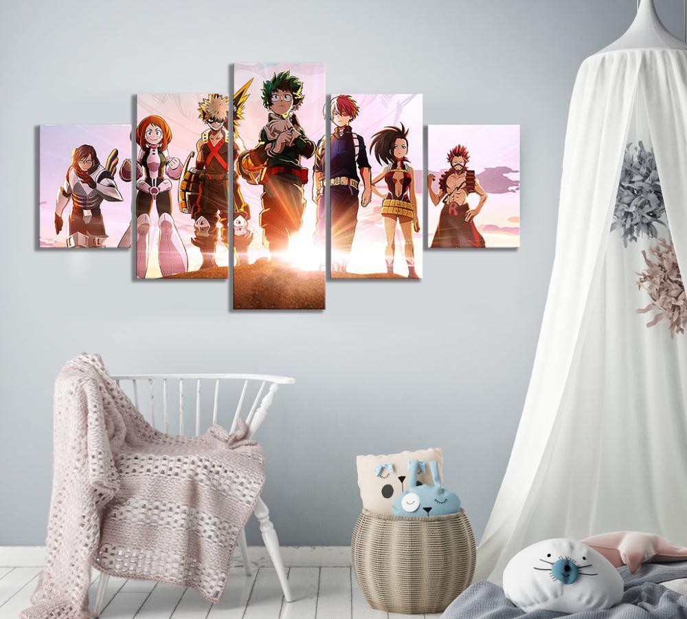 5 piezas de mi héroe Academia dos héroes Cartel de la película de lona pared arte Boku No Hero Academia el póster de película para pared Decoración