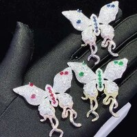 50x45mm womens high quality sweet rose pink zircon butterfly brooch womens high grade brooch ornaments coat pin pendant