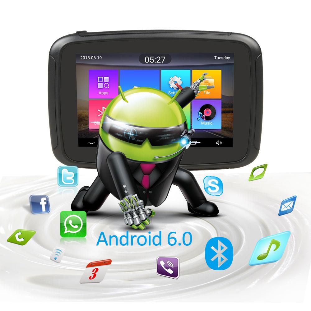Android 6.0 Fodsports 5 Inch Motorcycle GPS Navigation IPX7 Waterproof Bluetooth Car Moto GPS Navigator 1GRAM+16G Flash Free Map