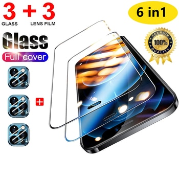 Protective Glass with Lens Film For iPhone 11 12 13 Pro Max Tempered Glass Screen Protector For iPhone 7 8 Plus XR XS MAX