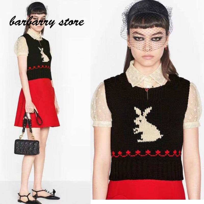 2021 luxury design lovely little white rabbit fashion women's sleeveless top temperament versatile slim knit vest short sleeve
